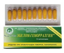 Эбилом-Геморралгин свечи (при кровоточащем геморрое, паропроктите)